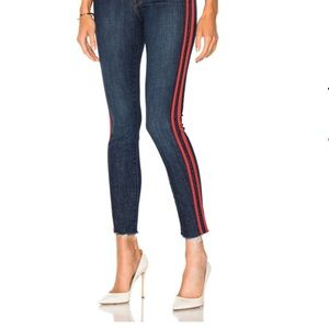 MOTHER Ankle Jeans with Red Stripes